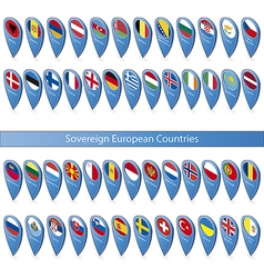 Pin flags of the sovereign european countries vector
