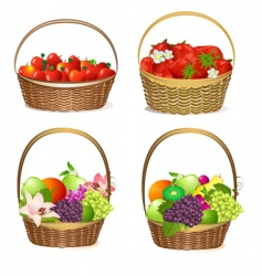 Set fruit baskets vector