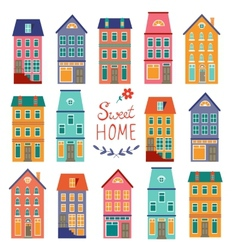 Colorful houses collection home sweet home set vector