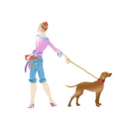 girl and dog vector image