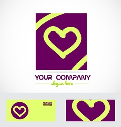 Love heart purple logo icon vector