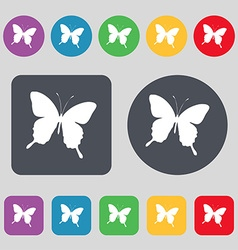 Butterfly icon sign a set of 12 colored buttons vector