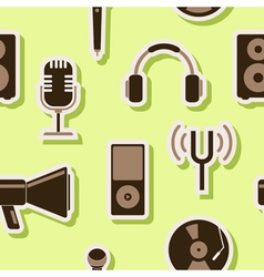 Seamless background with music and audio equipment vector