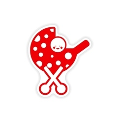 Paper sticker baby in stroller on white background vector
