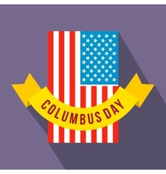 American flag with columbus day ribbon flat icon vector