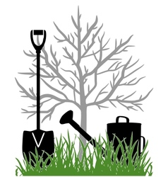 Working in the garden vector