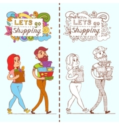 Happy doodle consumers with a full shopping bags vector
