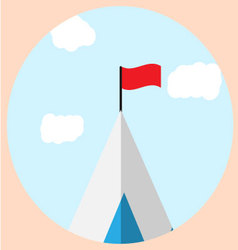 Top of mountain with flag goal icon vector