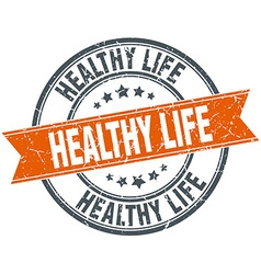 Healthy life round orange grungy vintage isolated vector