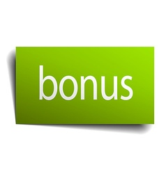Bonus green paper sign on white background vector