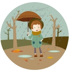 A girl under an umbrella vector