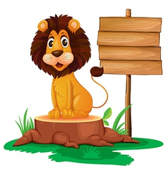 A lion sitting on a stump beside a wooden vector image