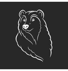 Bear head logo template emblem on black background vector