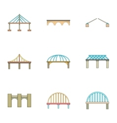 Bridge icons set cartoon style vector image vector image