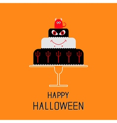 Cake with evil trident pumpkin and bat happy vector