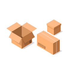 Delivery cardboard containers icon set vector