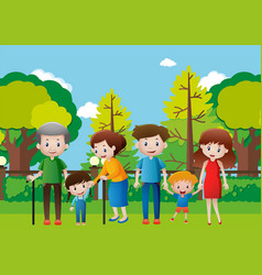 Family hanging out in the park vector