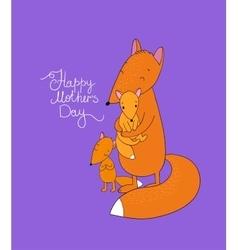 Family of cute cartoon fox funny animals happy vector