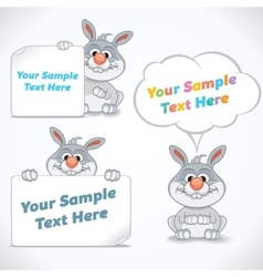 Funny Cartoon Rabbit with Banners vector image vector image