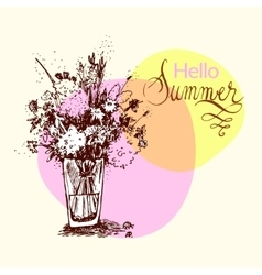Hand drawn summer bouquet vector