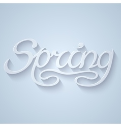 Hand drawn word SPRING lettering with long shadow vector image