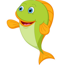 Happy fish cartoon presenting vector