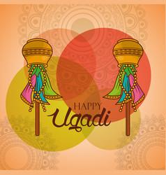 Happy ugadi celebration calendar indian festival vector