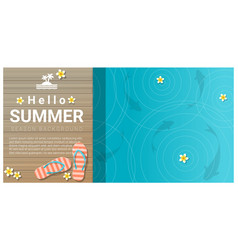 hello summer background with sandals vector image