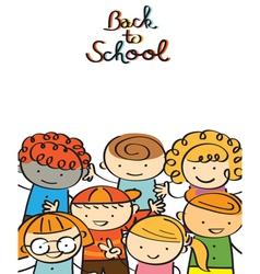 Kindergarten kids back to school background vector