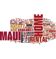 Maui home text background word cloud concept vector