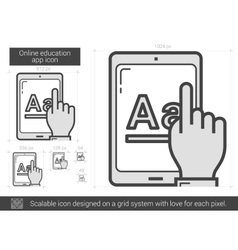 Online education app line icon vector