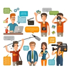 photographer and reporter television journalism vector image