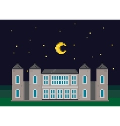 Pixel Mansion with Moon vector image