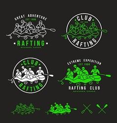 Rafting club emblem and design elements vector
