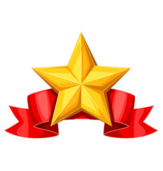 Realistic gold star on red ribbon of vector