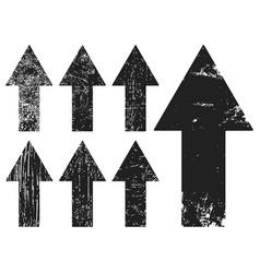 Set of black grunge texture arrrows vector