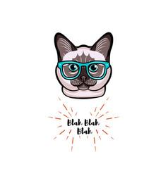 Siamese cat in smart glasses cat geek vector