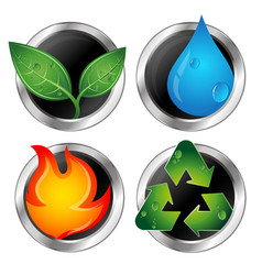 Symbols of renewable energy and recycling vector