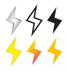 thunder and lighting bolt icon in many style vector image