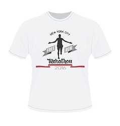White t-shirt with marathon print Running man vector image vector image