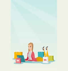 Young caucasian woman doing online shopping vector