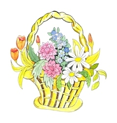 Basket with flowers vector