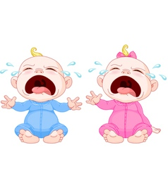 Crying baby twins vector