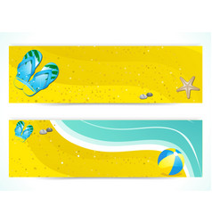 Summer beach and flip flop banners vector
