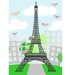 Cartoon paris with birds vector