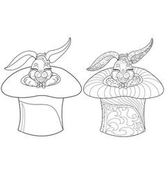 coloring page rabbit hand drawn vintage doodle vector image