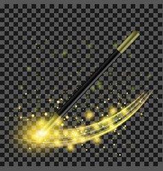Realistic magic wand with yellow starry lights vector