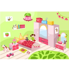 Girls pink room vector