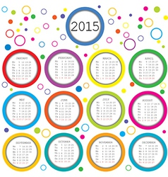 2015 calendar for kids with colored circles vector