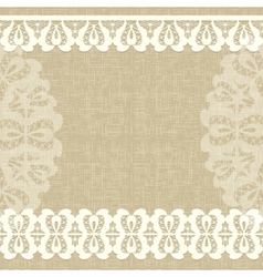 Card with a white lace linen canvas floral vector